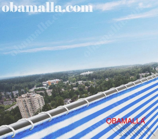 red de sombreo bicolor instalada en balcón.