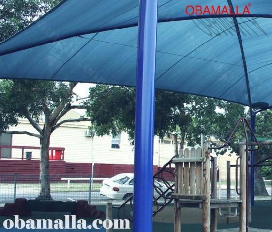 malla de sombreado instalada en parque sobre juegos infantiles.