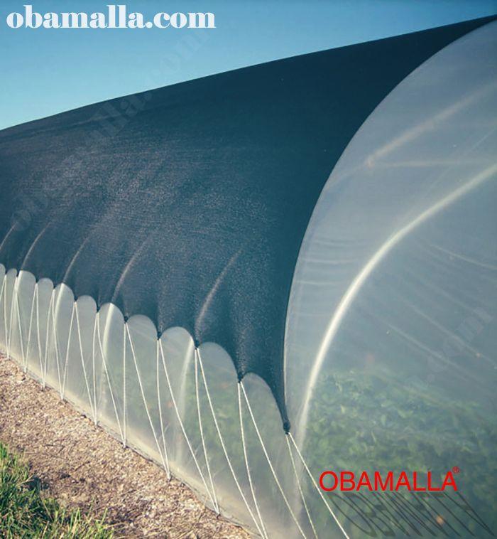 malla sombra instalada en domo para la protección de cultivos.