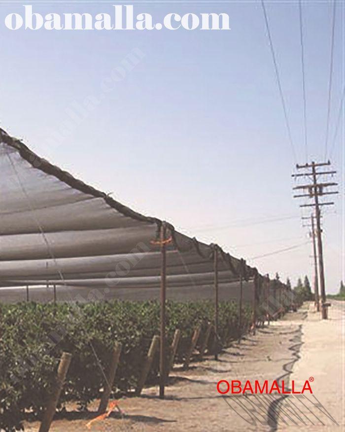 malla sombra obamalla utilizada en la protección de cultivos en el campo.
